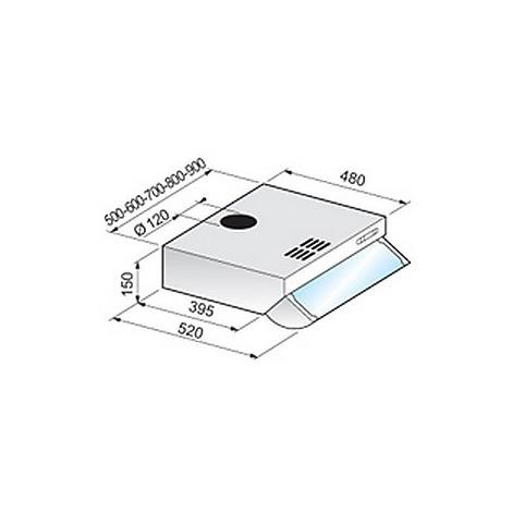 standard frontale 90 cm mar/inox tecnowind cappa