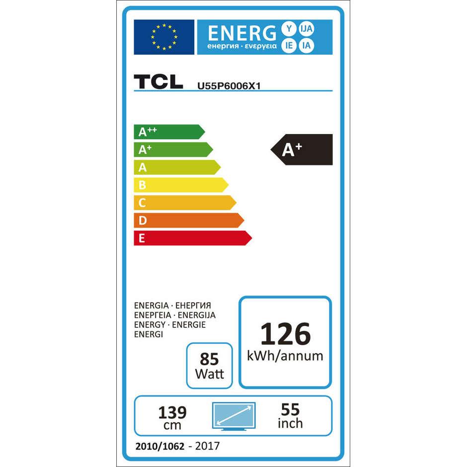 "TCL U55P6006 TV LED 55"" 4K Ultra HD Smart TV 3 HDMI WIFI LAN"