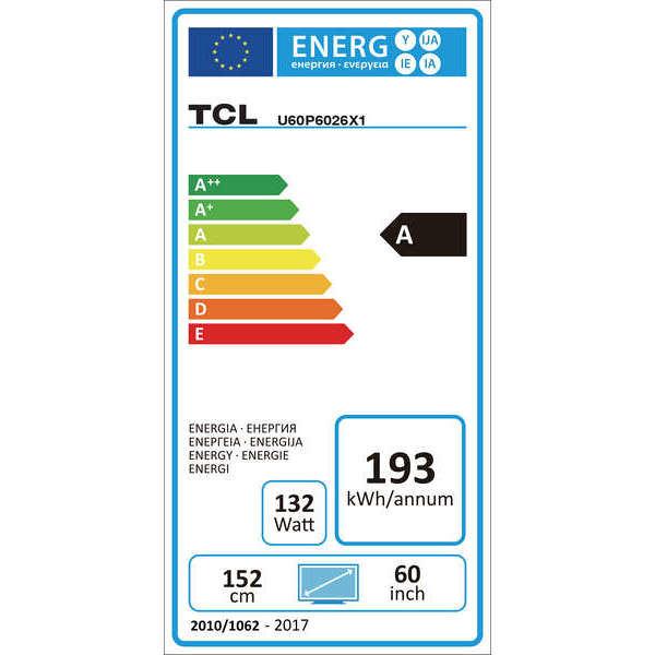 """TCL U60P6026 Tv LED 60"""" 4K Ultra HD Smart Tv HDR Wi-fi classe A colore nero"""