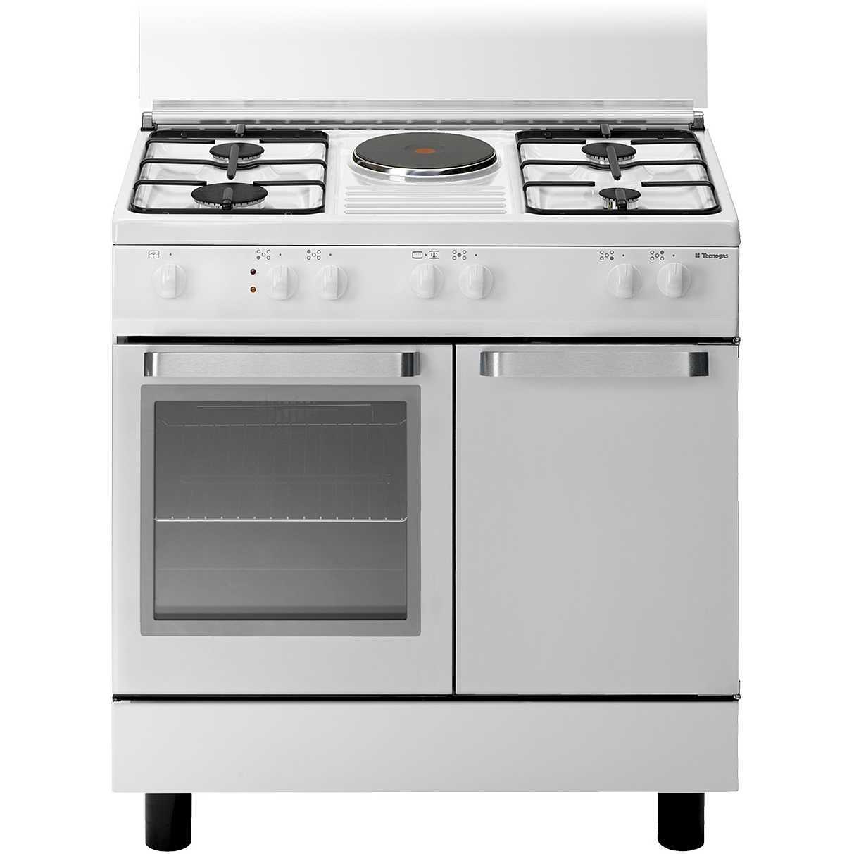 Tecnogas d881ws cucina 80x50 4 fuochi a gas 1 piastra elettrica forno elettrico 55 litri - Cucina con piastra elettrica ...