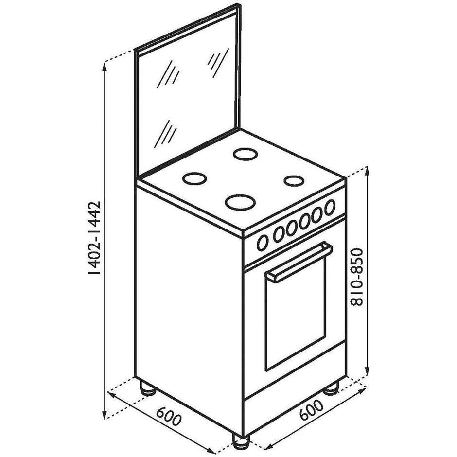 Tecnogas p664gvx cucina 60x60 4 fuochi a gas forno a gas - Eprice cucine a gas ...