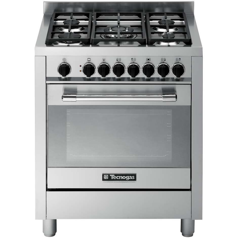 Tecnogas ptv762xs cucina 70x60 5 fuochi a gas forno a gas ventilato con grill elettrico 59 litri - Cucina con forno ventilato ...