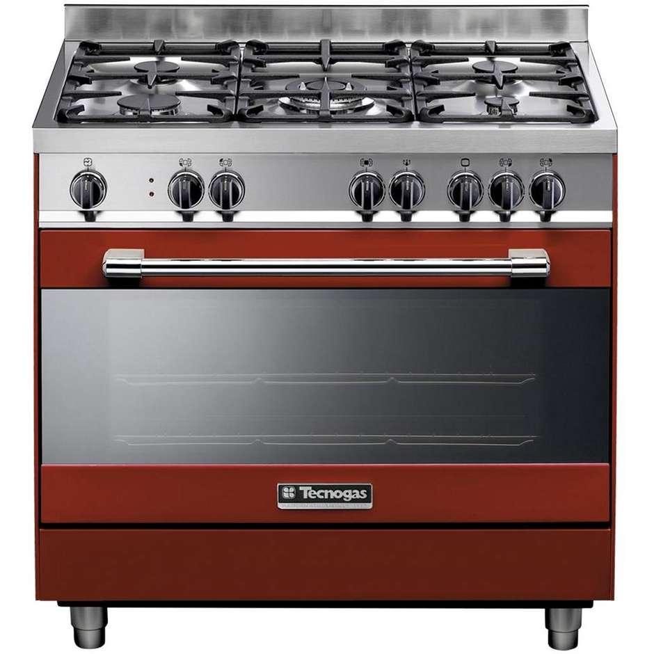 Tecnogas ptv998rs cucina 90x60 5 fuochi a gas forno a gas con grill elettrico 103 litri classe a - Cucina a gas 5 fuochi ...