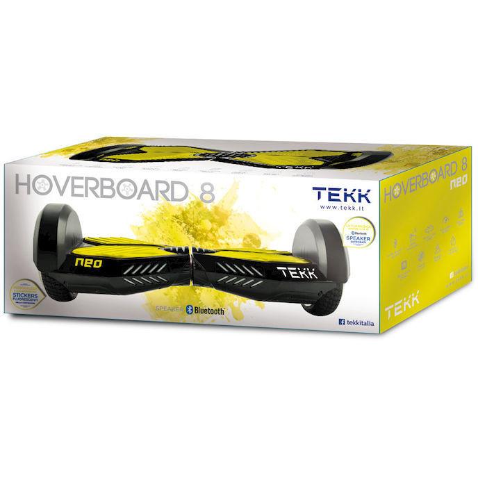 tekk hoverboard 8 neo 12 km h giallo monopattino elettrico. Black Bedroom Furniture Sets. Home Design Ideas