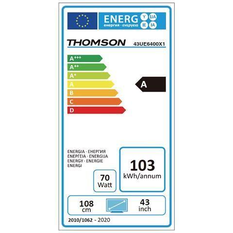 "Thomson 43UE6400 TV Led 43"" 4K Ultra HD Smart TV Android colore Nero"