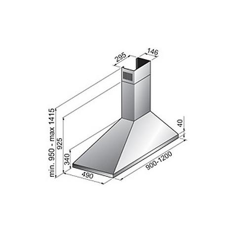 trapezio dx 90 cm inox tecnowind cappa