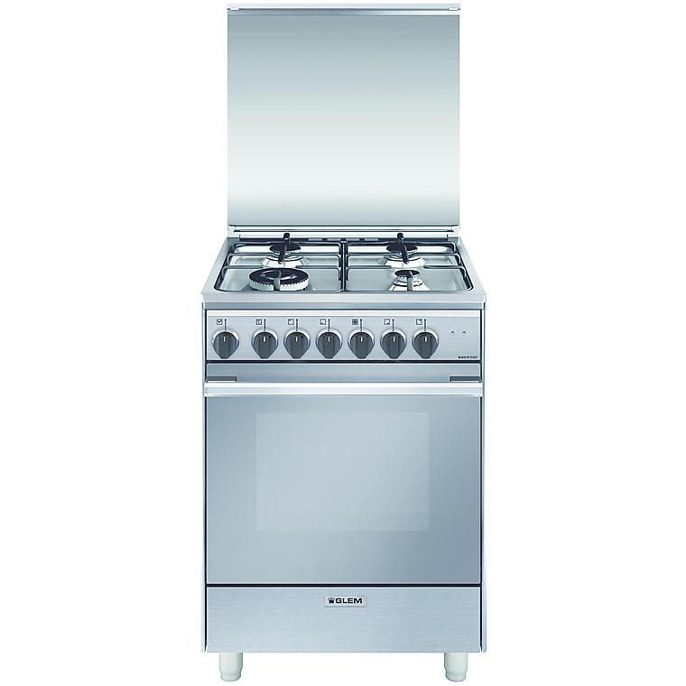 u-664mi glem gas cucina 60x60 4 fuochi a gas forno elettrico classe a inox