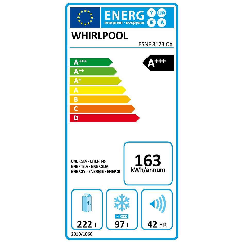 Whirlpool BSNF 8123 OX frigorifero combinato 319 litri classe A+++ No Frost inox