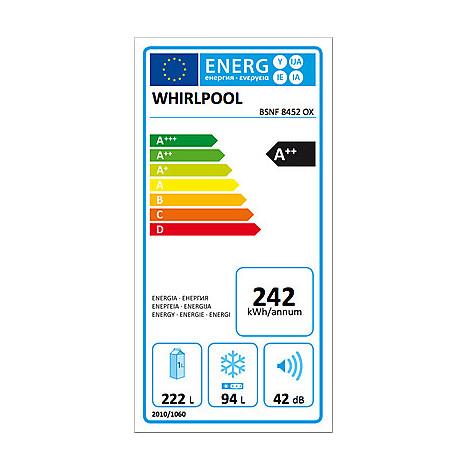 Whirlpool BSNF 8452 OX frigorifero combinato classe A++ 316 litri Total No Frost inox