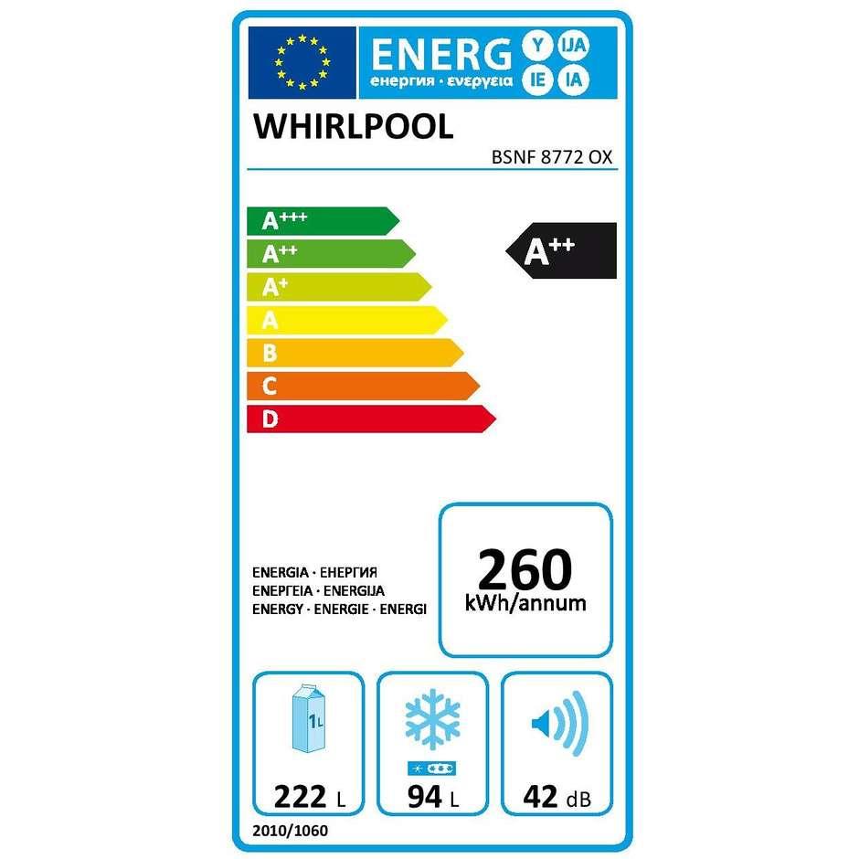 Whirlpool BSNF 8772 OX.1 frigorifero combinato classe A++ 316 litri Total No Frost inox