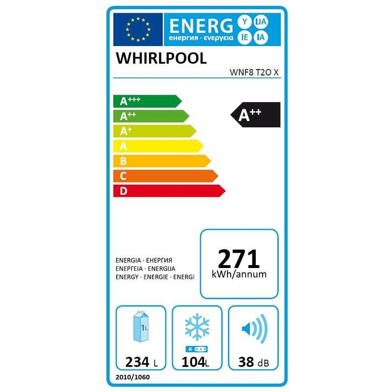 Whirlpool WNF8 T2O X frigorifero combinato 338 litri classe A++ No Frost colore inox