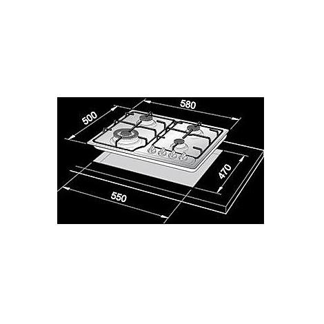 ybf-46asv de longhi piano cottura da 60 cm 4 fuochi a gas bianco